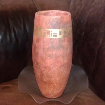 Antique Vase with frosted glass plate - Pottery