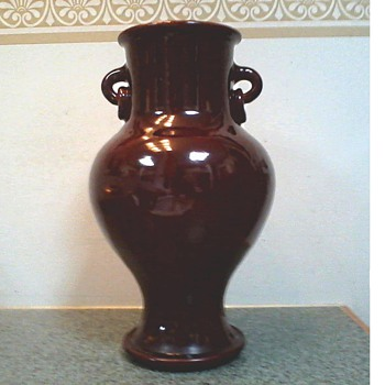 "Elegant Form "" Sang de Boeuf "" or  Ox Blood Colored Vase with Ring Handles / Unknown Maker and Date  - Pottery"