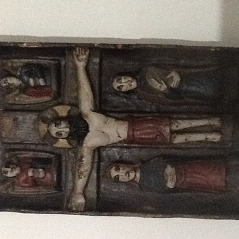 Carved wood religious panel French antique  - Folk Art