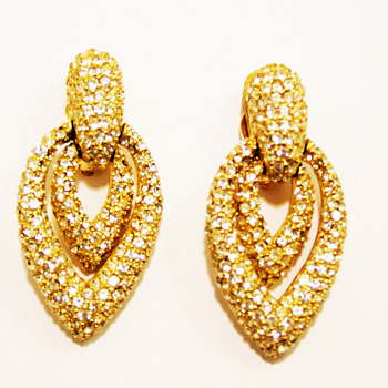 Vintage Ciner Rhinestone Door Knocker Earrings