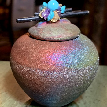 Miniature Raku Covered Container by Jeremy Diller - Pottery