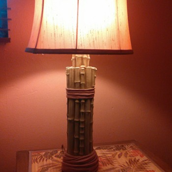Pair of plaster Bamboo bedside lamps  - Lamps