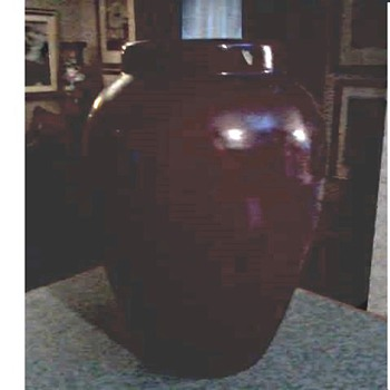 "Large 15"" Burgandy Art Pottery Floor Vase /Unmarked Ohio-Zanesville (?) /Circa 20th Century - Pottery"