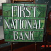 First National Bank Leaded Stained Glass... Old And Original...Displayed On Stick And Ball Oak Easel