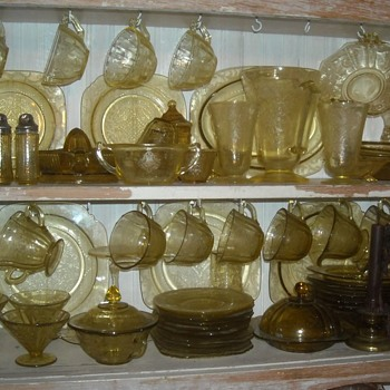 My Amber Madrid Pattern Depression Glass Collection - Glassware