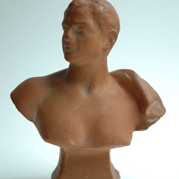 small advertising  terracota male bust by FERDINAND FAIVRE, for ANDRE shoemaker - Pottery