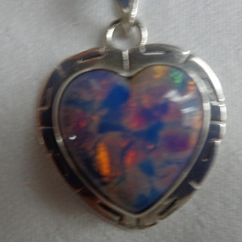 Mexican Sterling and Glass Pendant (foiled harlequin art glass) - Fine Jewelry