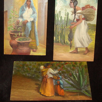 Mexican folk art miniature oil paintings - Folk Art