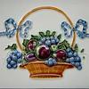 Old Tile, Basket of Fruit with Ribbon~Part of Border? Maker?