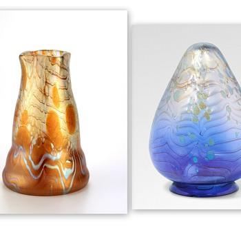 Examples of Loetz Phänomen Genre 1/72 , a seldom seen decor from 1901. - Art Glass