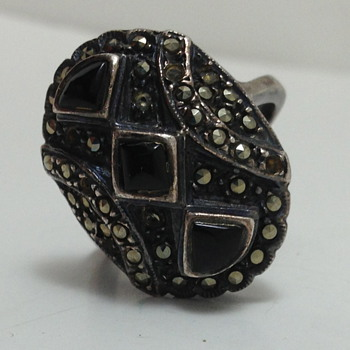 Sterling Silver Ring - Marcasite & Onyx - Fine Jewelry