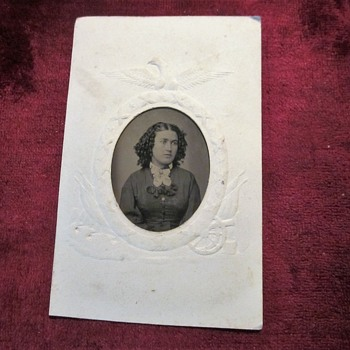 Lady's tintype with Civil War mat. - Military and Wartime