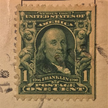 Old US 1-Cent Benjamin Franklin Stamp And On Old POSTCARD - Stamps