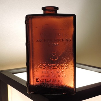1973 Anchor Hocking E. W. Lawrence Retirement Bottle Award Flask 43 Years Anniversary Amber Brown Lancaster Ohio - Bottles