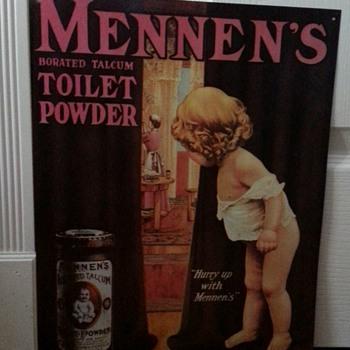 ADORABLE MENNEN'S BORATED TALCUM TOILET POWDER - Advertising