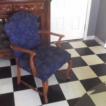Flower Pattern Blue Arm Chair - Furniture