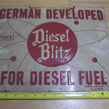 """Vintage fence sign: """"Diesel Blitz"""" - Signs"""