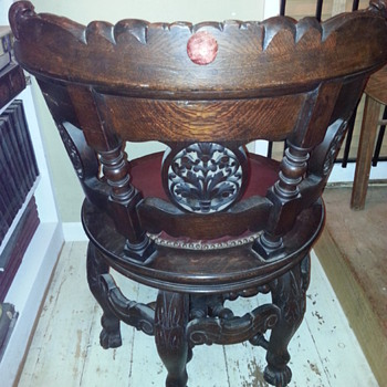 Gothic carved 6 legged wooden swivel round chair Set 2 - Furniture