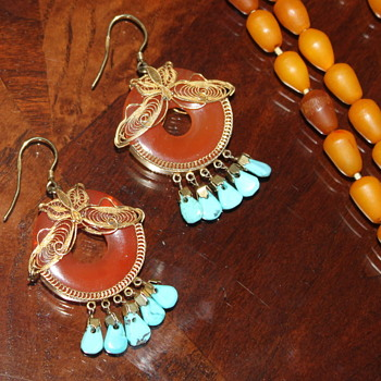 Turquoise and Carnelian Earrings 70's, Turquoise Pendant & Ring - Fine Jewelry
