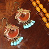 Turquoise and Carnelian Earrings 70's, Turquoise Pendant & Ring