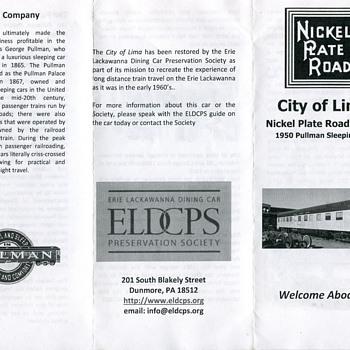 ELDCPS City of Lima Pullman, Nickel Plate Road…..