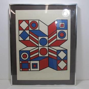 Vintage Geometric Op Art Signed - Fine Art