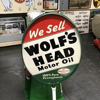 Wolf's head oil gas Island sign  - Petroliana