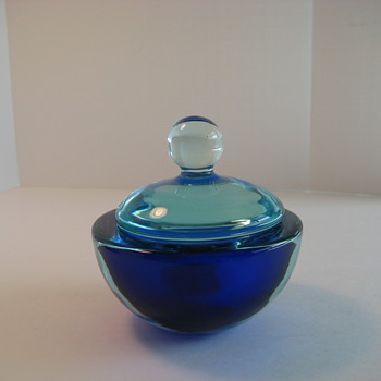 Seguso Cobalt blue and aqua sommerso vanity bowl