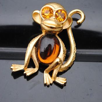 Jelly Belly Trifari Monkey - Costume Jewelry