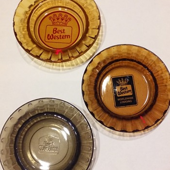 3 generations of BEST WESTERN HOTEL ashtrays - Advertising