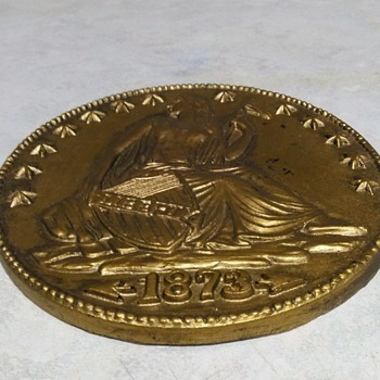 LARGE WOOD COIN - Advertising
