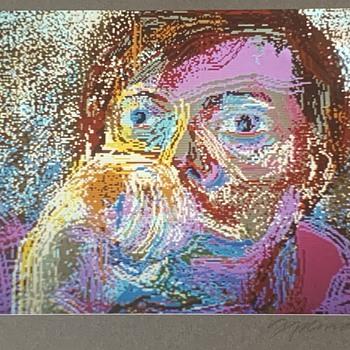 1987 Signed Framed Portrait Digital Painting  - Fine Art