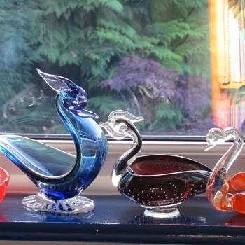 Murano Glass Bird / Swan Bowls - Art Glass
