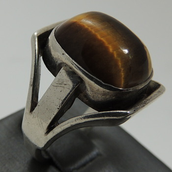 Tiger's Eye and 835 Silver Ring