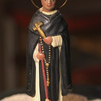San Martin de Porres - Old terracotta statue from Mexico, i think. - Figurines