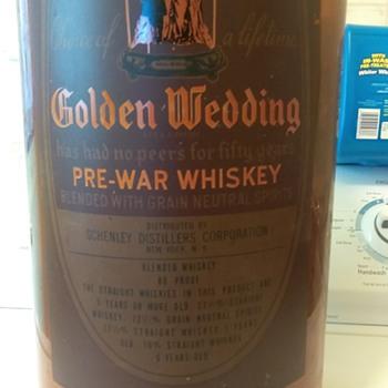 Golden Wedding Wiskey Bottle - Bottles