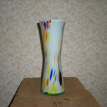Bohemian multicolored spatter glass vase. - Art Glass