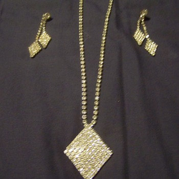 Great Grandmas Rhinestone necklace and earrings.  - Costume Jewelry