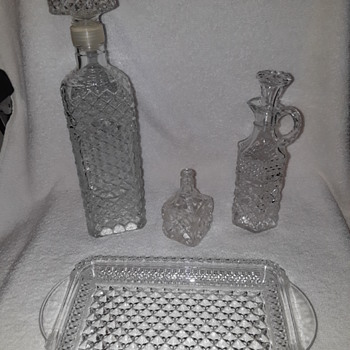pressed glass decanter, cruet, and a couple of odd glass stoppers - Glassware