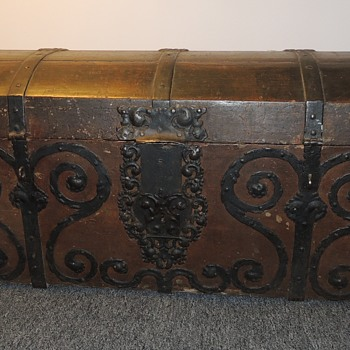 Domed Immigrant Trunk W/ Excellent Forged Iron Straps and Scrolls  - Furniture