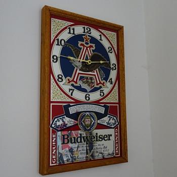 BUDWEISER MIRROR CLOCK SIGN