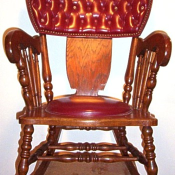Antique Leather and Wood Rocking Chair  - Furniture