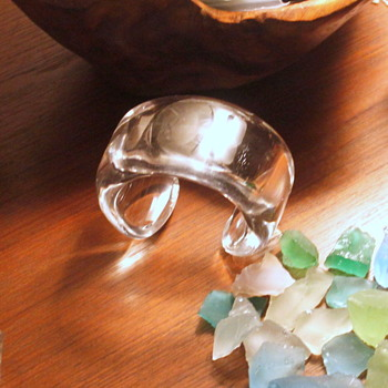 Clear Lucite Cuff Bracelet, Sea Glass, Sterling Silver Infinity and Ankh - Costume Jewelry
