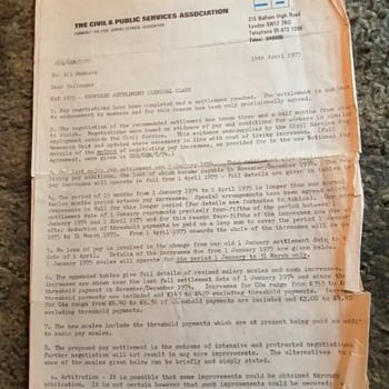Old civil service pay rise letter, April 1975. - Paper