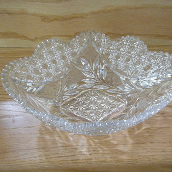 Thick Glass Crystal Deep Cuts Engravings Bowl