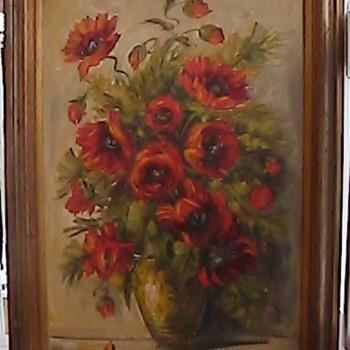 L. Ritter Oil on Canvas Poppies in Vase - Victorian Era