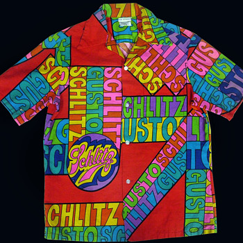 Vintage Psychedelic 60s Schlitz Beer Hawaiian Shirt - Mens Clothing