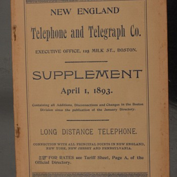 1893 New England Telephone & Telegraph Directory Supplement