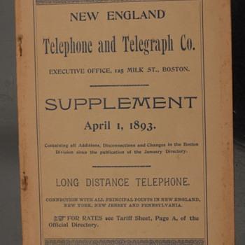 1893 New England Telephone & Telegraph Directory Supplement - Telephones