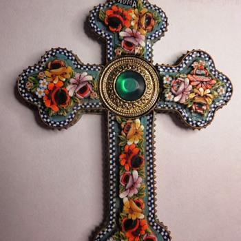 Micro Mosaic Flower cross pendant